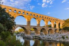 Мост-водовод Pont du Гар - Провансаль Франция Стоковые Изображения RF