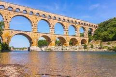Мост-водовод Pont du Gardon в Провансали стоковое фото rf