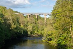 Мост-водовод Pontcysyllte около Llangollen в Уэльсе весной Стоковое Изображение