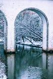 Мост-водовод Rostokinsky Свод над рекой Yauza Стоковое Изображение RF