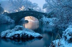 Мост во время зимы, центральный парк Нью-Йорк Gapstow США стоковые фото