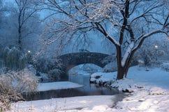 Мост во время зимы, центральный парк Нью-Йорк Gapstow США стоковое фото
