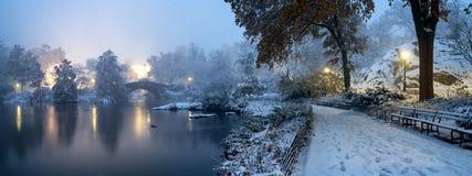Мост во время зимы, центральный парк Нью-Йорк Gapstow США стоковое изображение rf