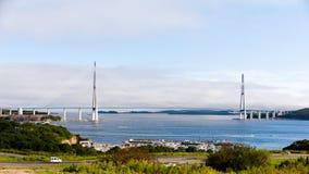 Мост в Владивосток к острову Russky Стоковые Фотографии RF