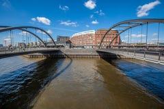 Мост в гавани Гамбурга стоковые фотографии rf
