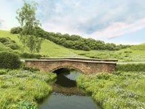 Мост в сельской местности иллюстрация штока