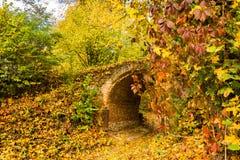 Мост в старом парке в осени стоковое изображение