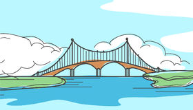 Мост в стиле нарисованном рукой Стоковое фото RF