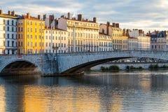 Мост в французском городе Лиона Стоковая Фотография RF