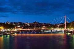 Мост в Lyon на ноче Стоковые Фотографии RF