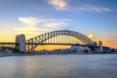 Мост гавани Сиднея в сумерк Стоковая Фотография RF