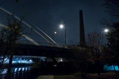 Мост города Чикаго на ноче Стоковые Фото