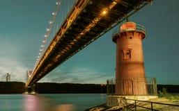Мост Джорджа Вашингтона и свет крюка красного маленького маяка Джеффри официально, Нью-Йорк, США стоковая фотография rf
