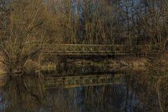 Мост для велосипедиста около реки Malse Стоковые Фото