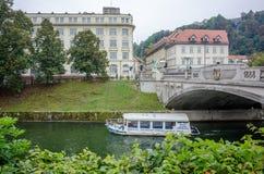 Мост дракона и река Ljubljanica стоковое фото rf
