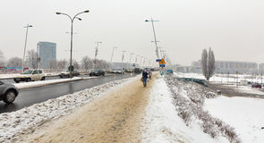 Мост замка в зиме Rzeszow, Польша Стоковые Фотографии RF