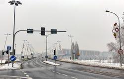 Мост замка в зиме Rzeszow, Польша Стоковое Фото