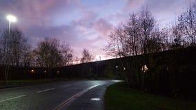 Мост захода солнца Стоковая Фотография