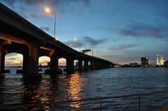 Мост захода солнца Стоковые Изображения
