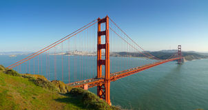 Мост золотистого строба Сан-Франциско панорамный Стоковая Фотография