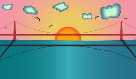 Мост золотого строба в иллюстрации дизайна вектора Сан-Франциско иллюстрация вектора