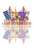 Мост золотого строба горизонта конспекта Сан-Франциско  Стоковое Фото