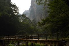 Мост и веревочка вокруг парка отстают в живописной местности Wulingyuan Стоковые Изображения