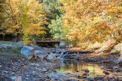 Мост и ручеек осени в парке штата залива точила стоковые изображения