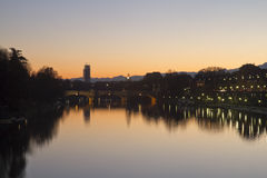 Мост и Murazzi Umberto i Стоковая Фотография