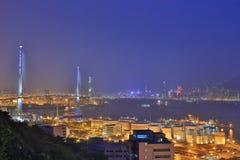 Мост каменных резцов, Гонконг на ноче Стоковое Фото