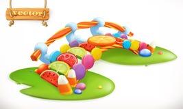 Мост конфет Сладостная земля, значок вектора конфеты плодоовощ иллюстрация вектора
