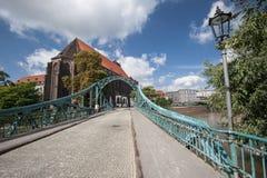 Мост к острову собора в Wroclaw Стоковые Фото