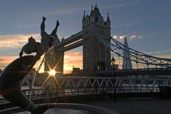 Мост Лондон башни захода солнца Стоковая Фотография