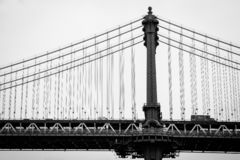 Мост Манхэттена, увиденный от DUMBO, в Бруклине, Нью-Йорк стоковые фотографии rf