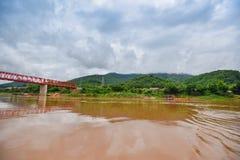 Мост Меконг Chai Buri Лаос Стоковое фото RF