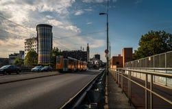 Мост Милана над станцией с трамваем стоковая фотография