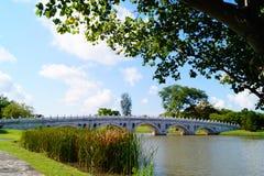 Мост надежды в озере стоковые изображения rf