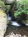 Мост над водопадом лестницы стоковые изображения rf
