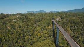 Мост над каньоном горы в джунглях bali Индонесия стоковые фото