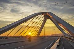 мост на заходе солнца, Барселона, Испания стоковое фото