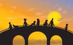 Мост на заходе солнца иллюстрация штока