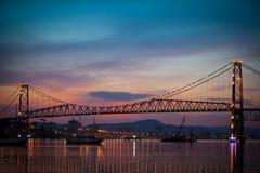 Мост на заходе солнца Стоковое Фото