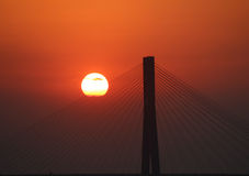 Мост на заходе солнца Стоковая Фотография RF