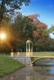 мост над каналом перерастанным с duckweed 24 selo резиденции petersburg парка знатности km семьи Кэтрины посещения tsarskoye st р Стоковые Фотографии RF