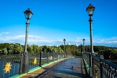 Мост над прудом в ансамбле Tsaritsyno стоковая фотография