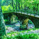 Мост на реке и ландшафте стоковое изображение rf
