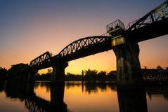 Мост над рекой Kwai в Kanchanaburi Стоковое Фото