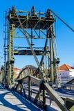 Мост над рекой Sado alcacer делает sal Португалии стоковое изображение rf