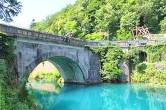 Мост над рекой Soci, Словенией Стоковые Фотографии RF