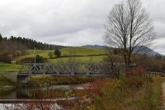 Мост над рекой Winooski, Moretown, Вермонт Стоковые Фото